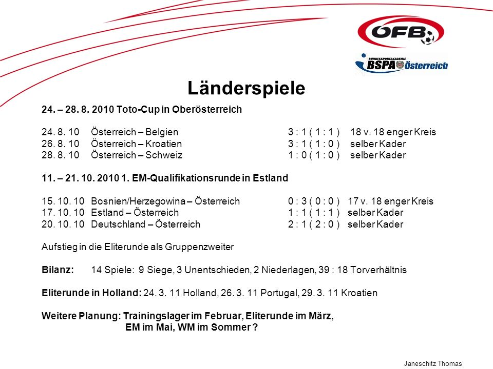 Länderspiele 24. – 28. 8. 2010 Toto-Cup in Oberösterreich