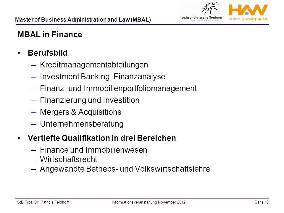 MBAL in Finance Berufsbild. Kreditmanagementabteilungen. Investment Banking, Finanzanalyse. Finanz- und Immobilienportfoliomanagement.