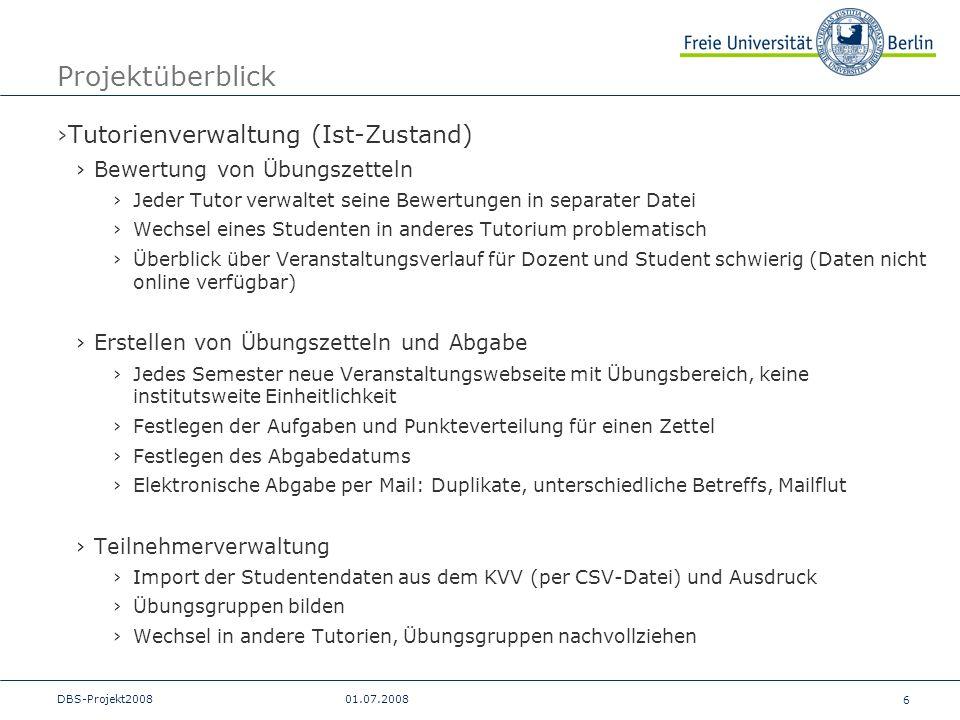 Projektüberblick Tutorienverwaltung (Ist-Zustand)