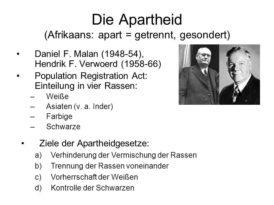 Die Apartheid (Afrikaans: apart = getrennt, gesondert)