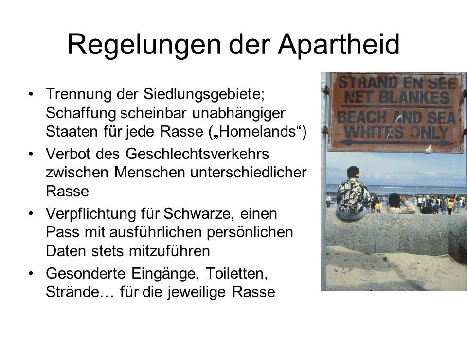 Regelungen der Apartheid