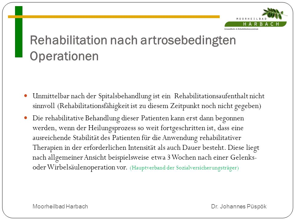 Rehabilitation nach artrosebedingten Operationen