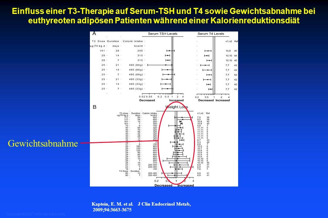 Einfluss einer T3-Therapie auf Serum-TSH und T4 sowie Gewichtsabnahme bei euthyreoten adipösen Patienten während einer Kalorienreduktionsdiät