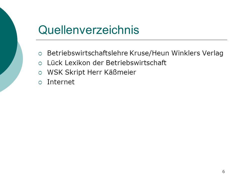 Quellenverzeichnis Betriebswirtschaftslehre Kruse/Heun Winklers Verlag