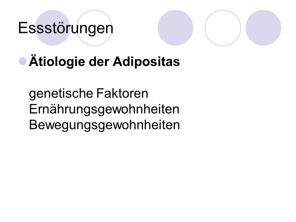 Essstörungen Ätiologie der Adipositas genetische Faktoren Ernährungsgewohnheiten Bewegungsgewohnheiten.