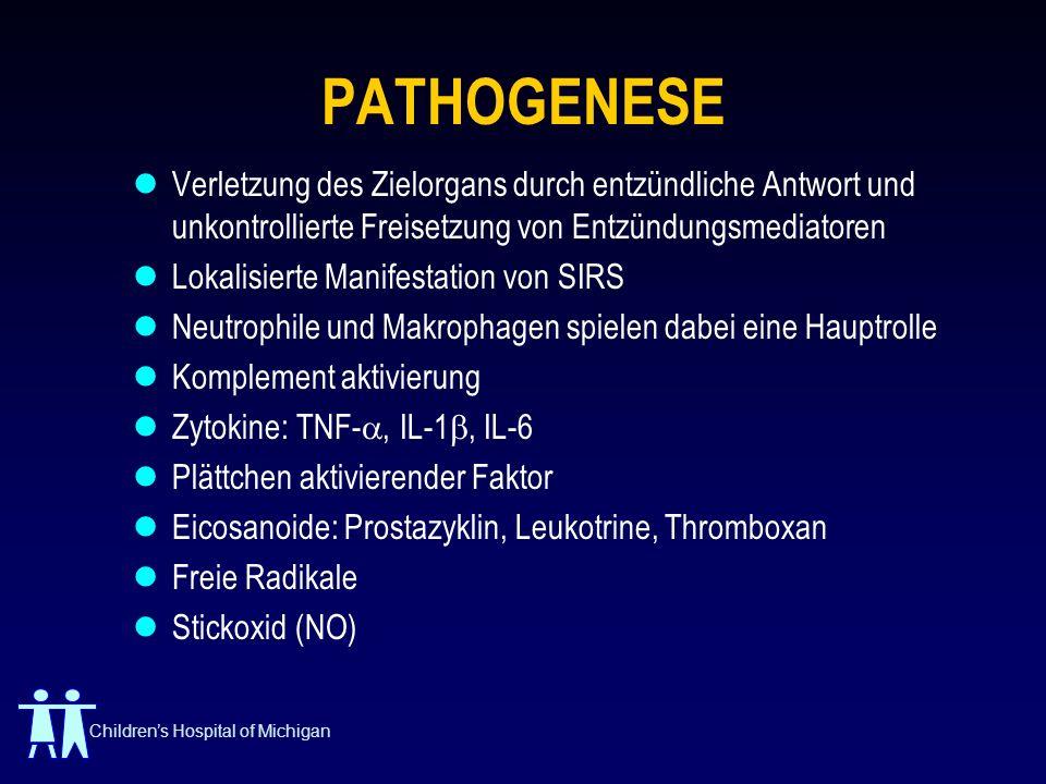 PATHOGENESE Verletzung des Zielorgans durch entzündliche Antwort und unkontrollierte Freisetzung von Entzündungsmediatoren.