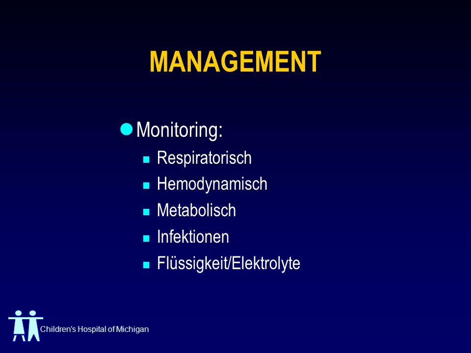 MANAGEMENT Monitoring: Respiratorisch Hemodynamisch Metabolisch