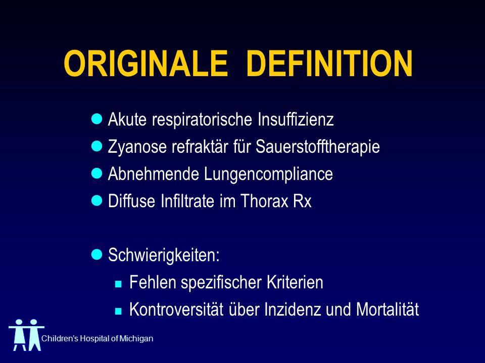 ORIGINALE DEFINITION Akute respiratorische Insuffizienz