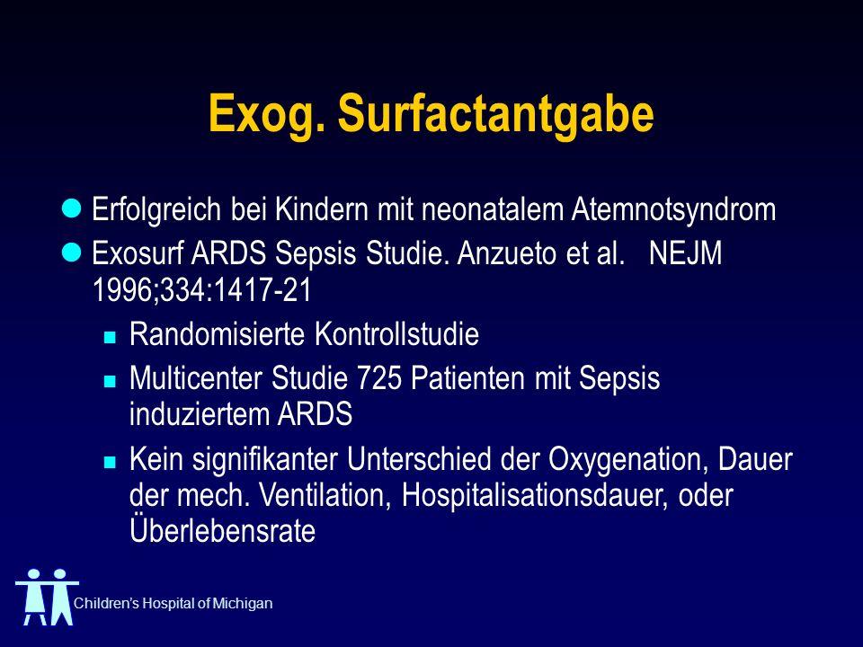 Exog. Surfactantgabe Erfolgreich bei Kindern mit neonatalem Atemnotsyndrom. Exosurf ARDS Sepsis Studie. Anzueto et al. NEJM 1996;334:1417-21.
