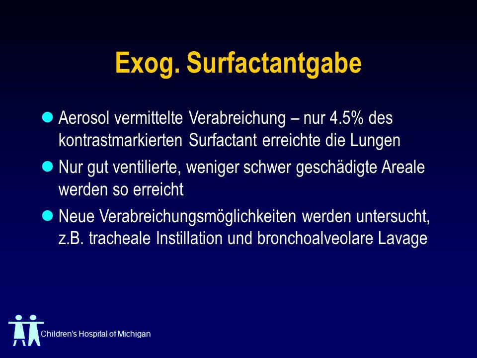 Exog. Surfactantgabe Aerosol vermittelte Verabreichung – nur 4.5% des kontrastmarkierten Surfactant erreichte die Lungen.