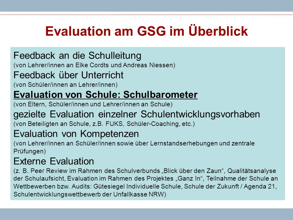 Evaluation am GSG im Überblick
