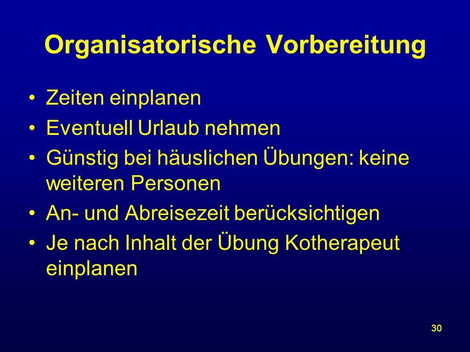 Organisatorische Vorbereitung