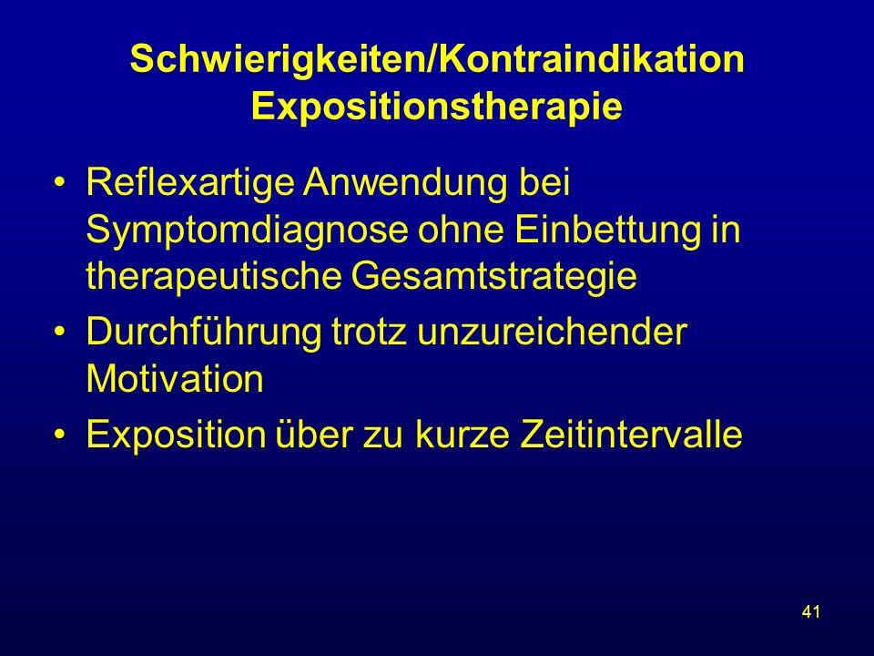 Schwierigkeiten/Kontraindikation Expositionstherapie