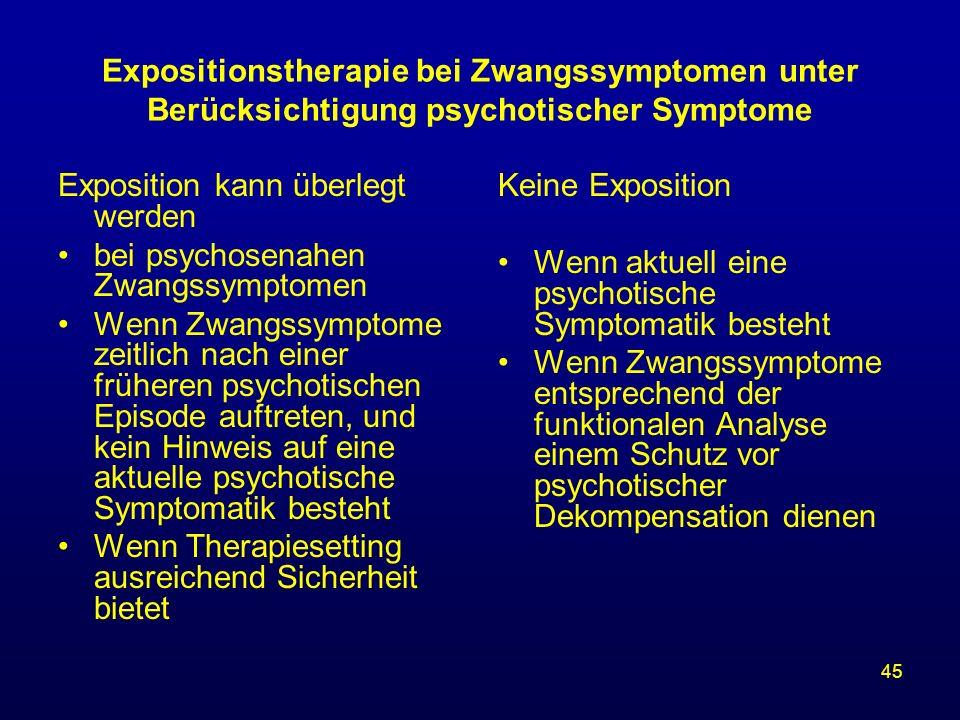 Expositionstherapie bei Zwangssymptomen unter Berücksichtigung psychotischer Symptome