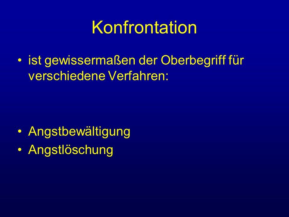Konfrontation ist gewissermaßen der Oberbegriff für verschiedene Verfahren: Angstbewältigung.