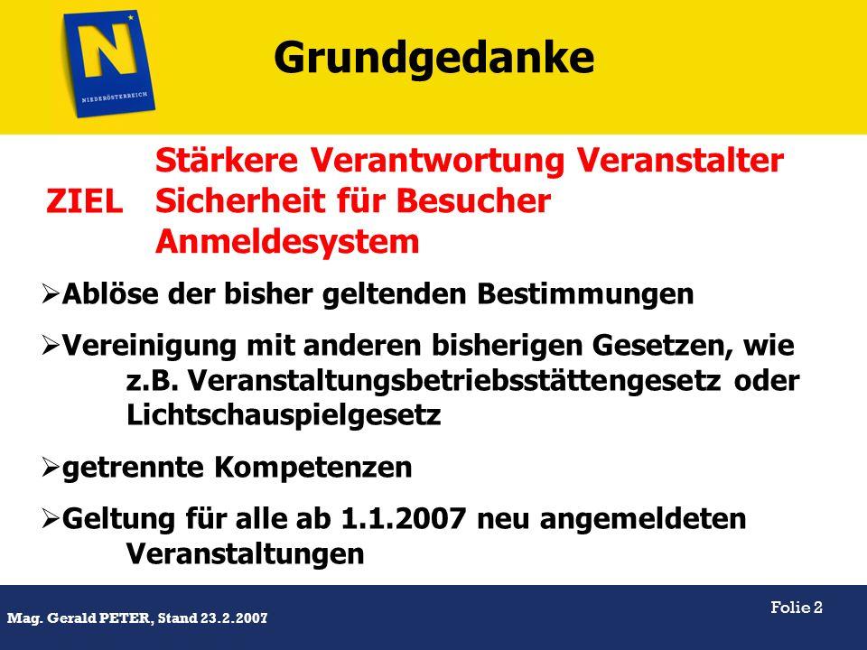 Grundgedanke Stärkere Verantwortung Veranstalter Sicherheit für Besucher Anmeldesystem. ZIEL. Ablöse der bisher geltenden Bestimmungen.
