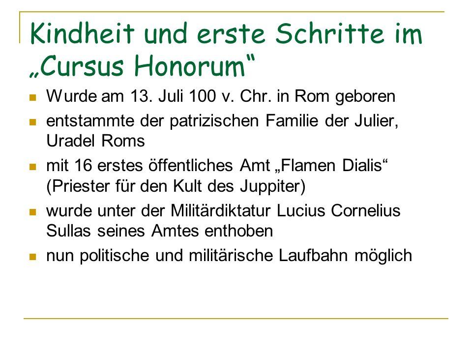 """Kindheit und erste Schritte im """"Cursus Honorum"""