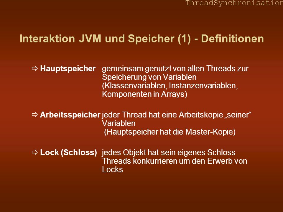 Interaktion JVM und Speicher (1) - Definitionen