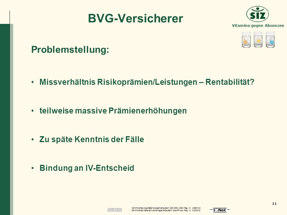 BVG-Versicherer Problemstellung: