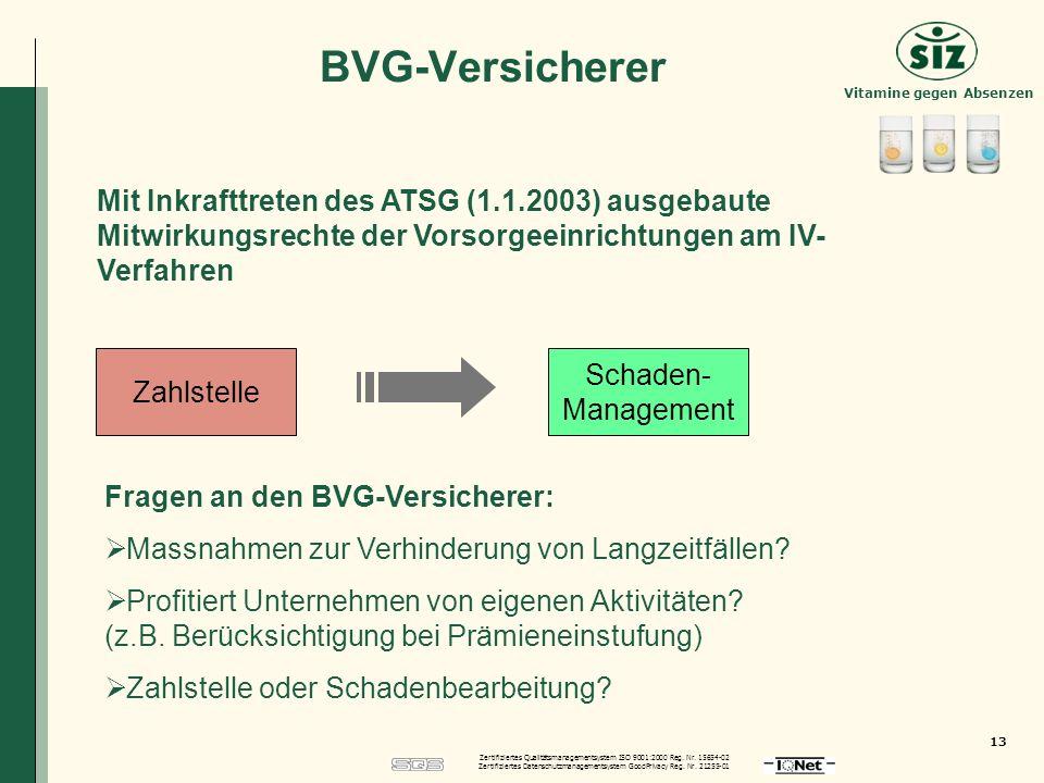 BVG-Versicherer Mit Inkrafttreten des ATSG (1.1.2003) ausgebaute Mitwirkungsrechte der Vorsorgeeinrichtungen am IV-Verfahren.