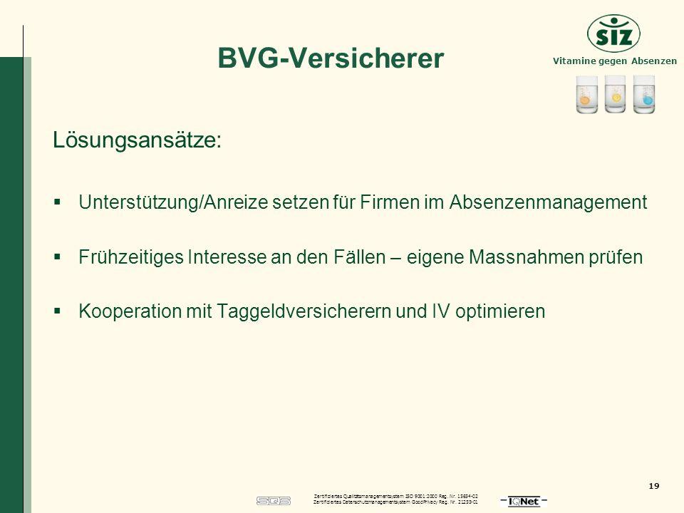 BVG-Versicherer Lösungsansätze: