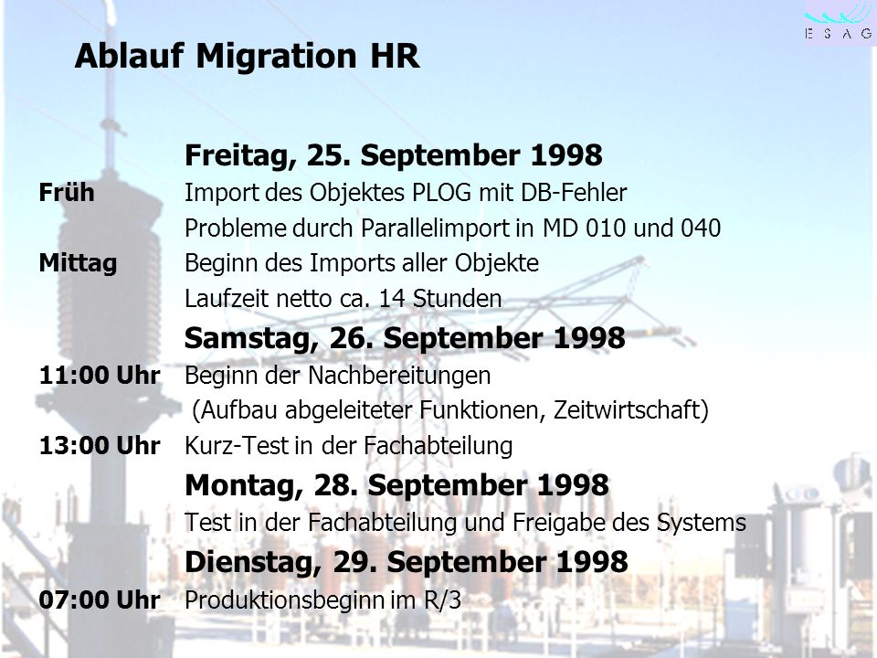 Ablauf Migration HR Freitag, 25. September 1998