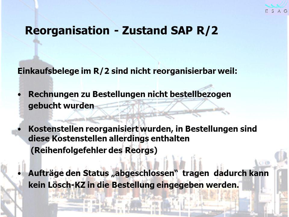 Reorganisation - Zustand SAP R/2