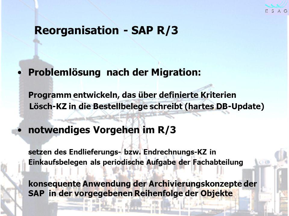 Reorganisation - SAP R/3