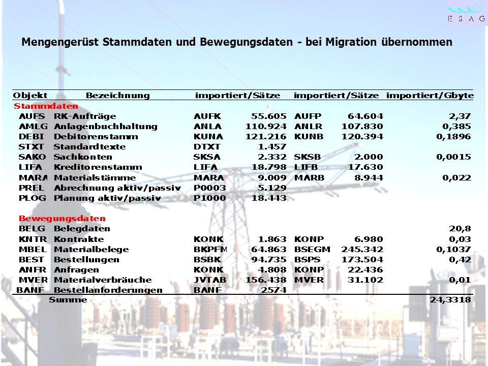 Mengengerüst Stammdaten und Bewegungsdaten - bei Migration übernommen