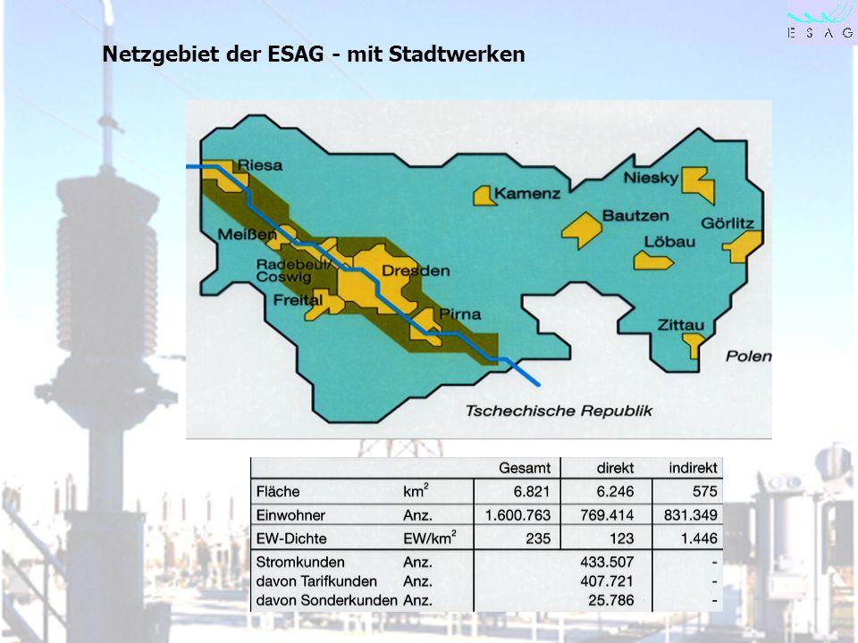 Netzgebiet der ESAG - mit Stadtwerken