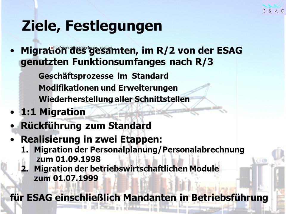 Ziele, Festlegungen Migration des gesamten, im R/2 von der ESAG genutzten Funktionsumfanges nach R/3.