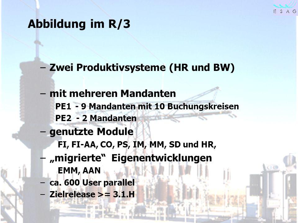Abbildung im R/3 Zwei Produktivsysteme (HR und BW)
