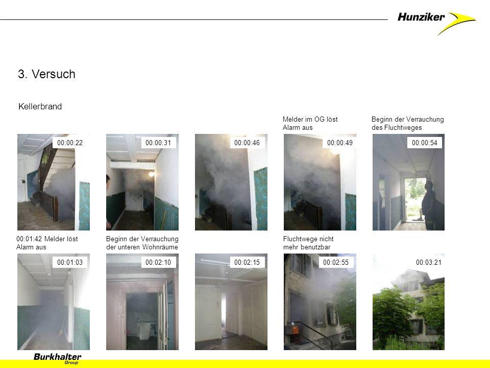3. Versuch Kellerbrand Melder im OG löst Alarm aus