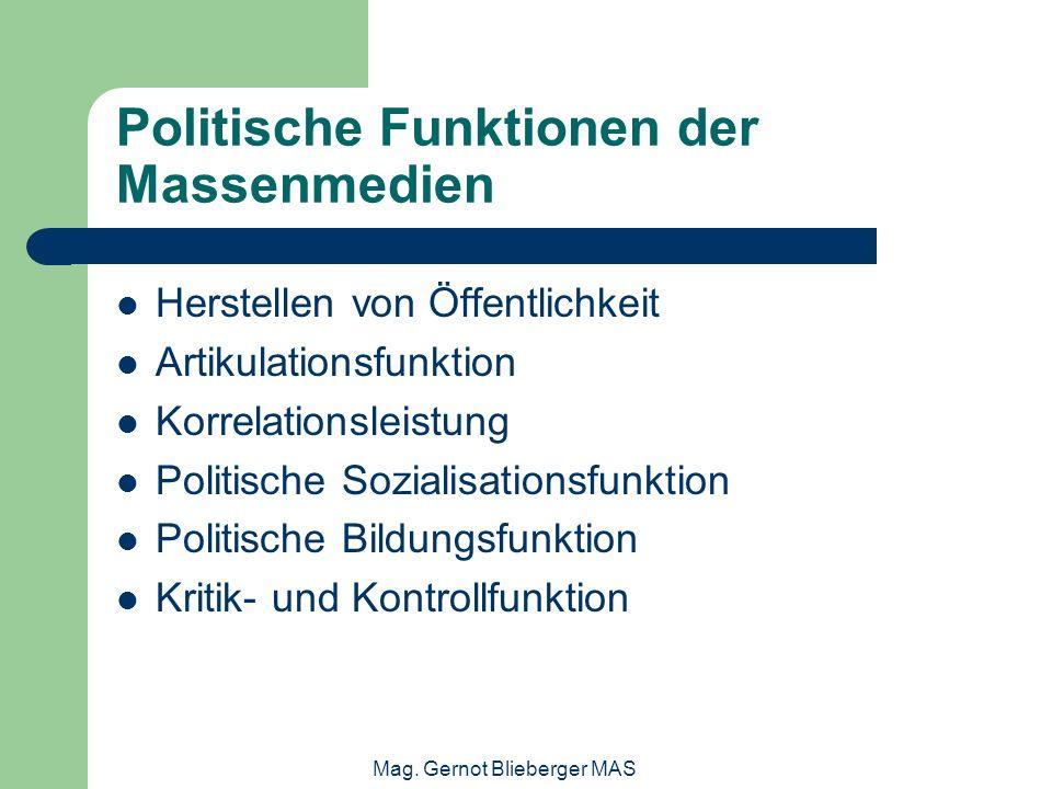 Politische Funktionen der Massenmedien