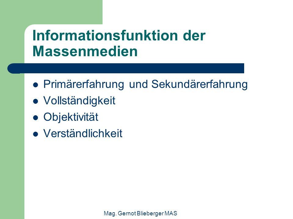 Informationsfunktion der Massenmedien