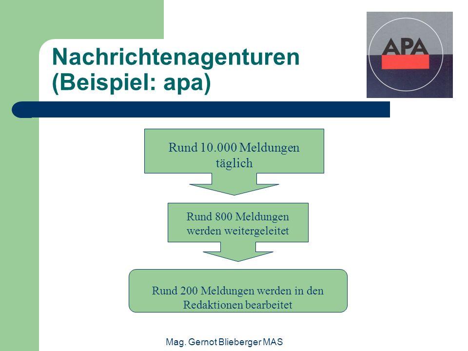 Nachrichtenagenturen (Beispiel: apa)