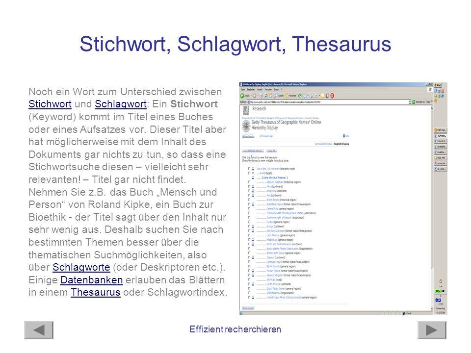 Stichwort, Schlagwort, Thesaurus