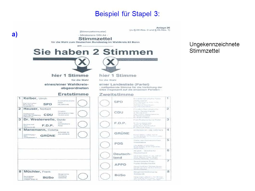 Beispiel für Stapel 3: a) Ungekennzeichnete Stimmzettel