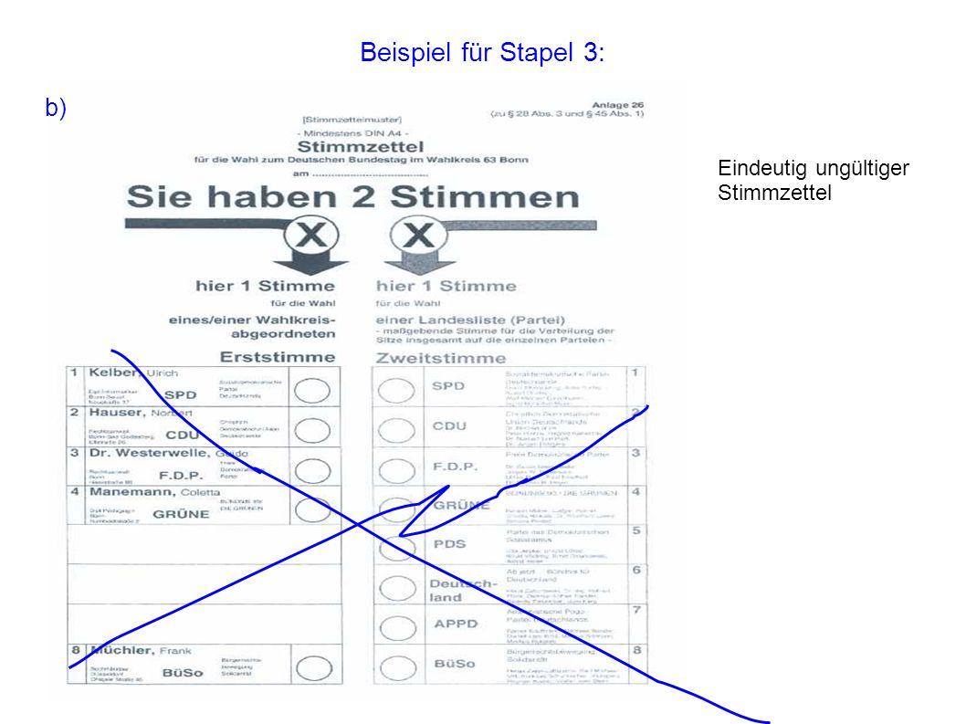 Beispiel für Stapel 3: b) Eindeutig ungültiger Stimmzettel