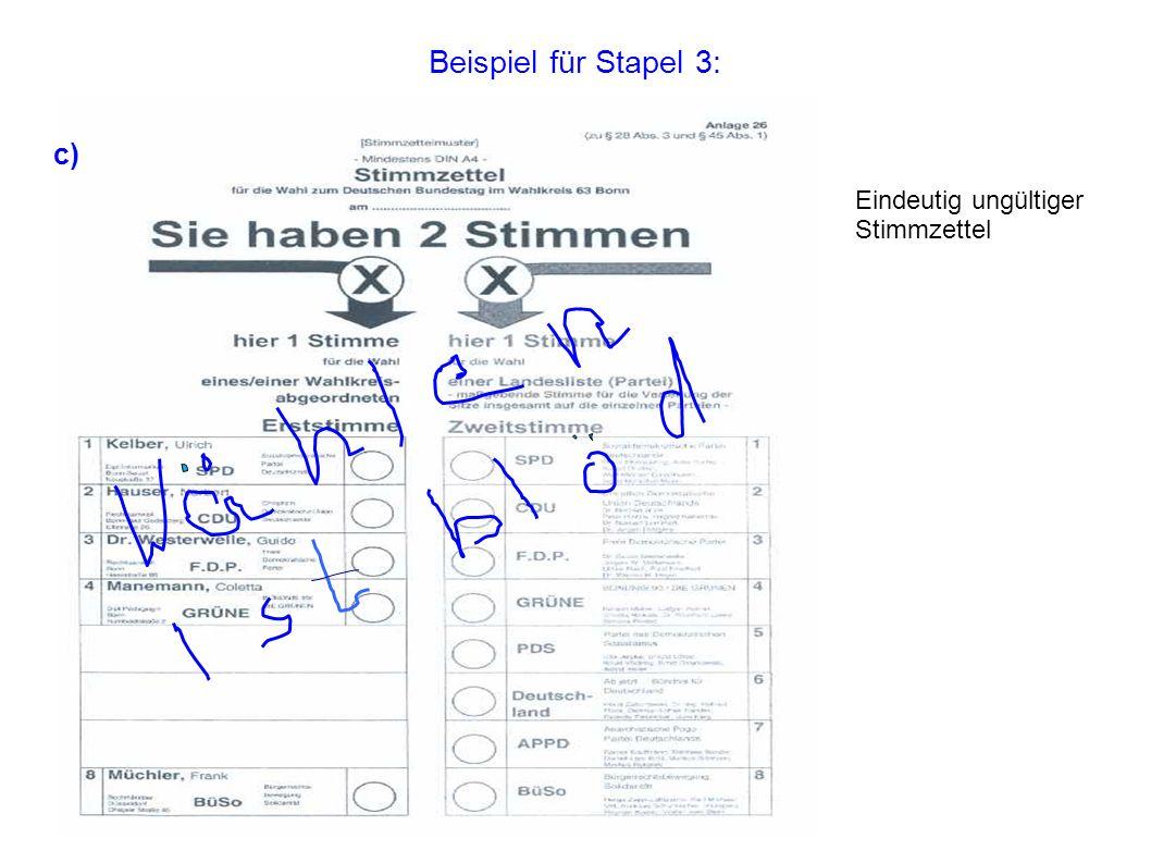 Beispiel für Stapel 3: c) Eindeutig ungültiger Stimmzettel