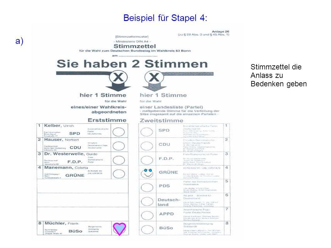 Beispiel für Stapel 4: a) Stimmzettel die Anlass zu Bedenken geben