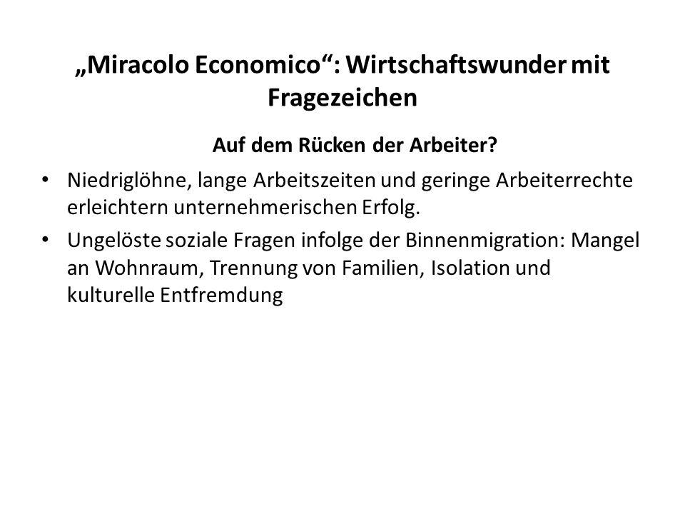 """""""Miracolo Economico : Wirtschaftswunder mit Fragezeichen"""