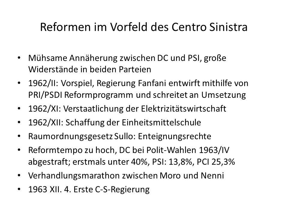 Reformen im Vorfeld des Centro Sinistra