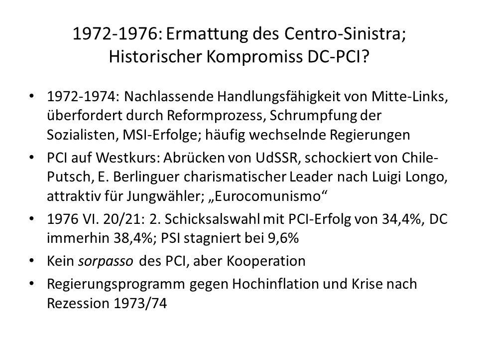 1972-1976: Ermattung des Centro-Sinistra; Historischer Kompromiss DC-PCI