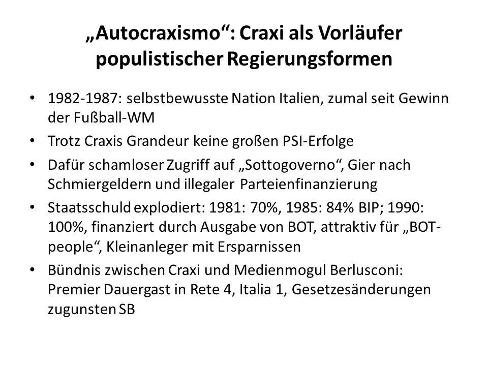 """""""Autocraxismo : Craxi als Vorläufer populistischer Regierungsformen"""