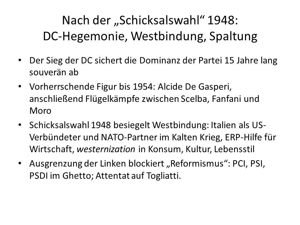 """Nach der """"Schicksalswahl 1948: DC-Hegemonie, Westbindung, Spaltung"""