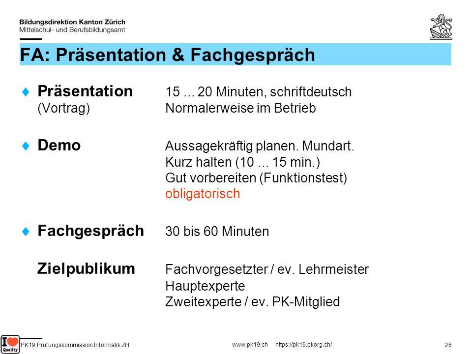 FA: Präsentation & Fachgespräch