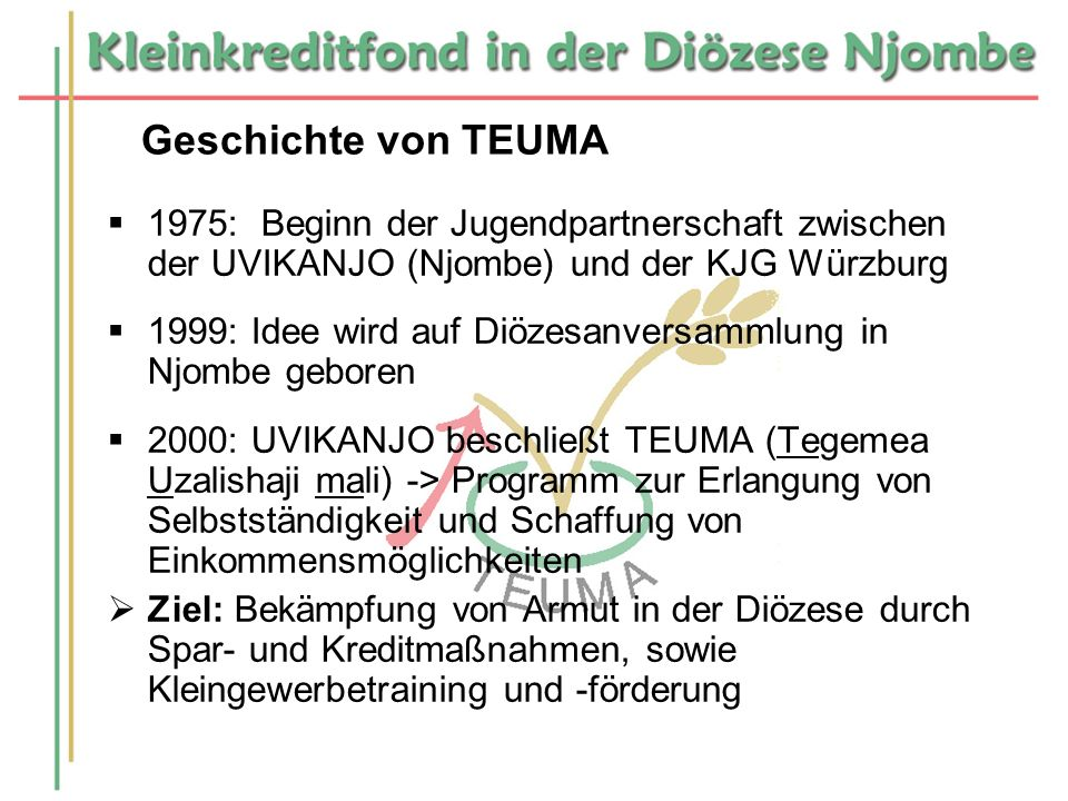 Geschichte von TEUMA 1975: Beginn der Jugendpartnerschaft zwischen der UVIKANJO (Njombe) und der KJG Würzburg.