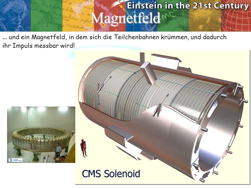 Magnetfeld ... und ein Magnetfeld, in dem sich die Teilchenbahnen krümmen, und dadurch.