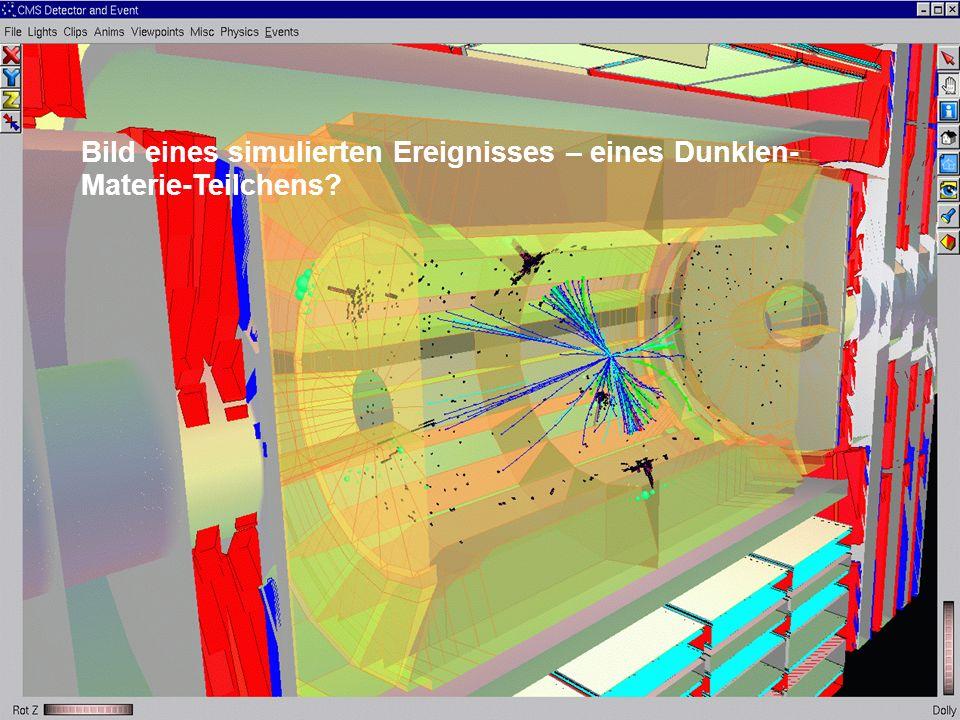 Bild eines simulierten Ereignisses – eines Dunklen-Materie-Teilchens
